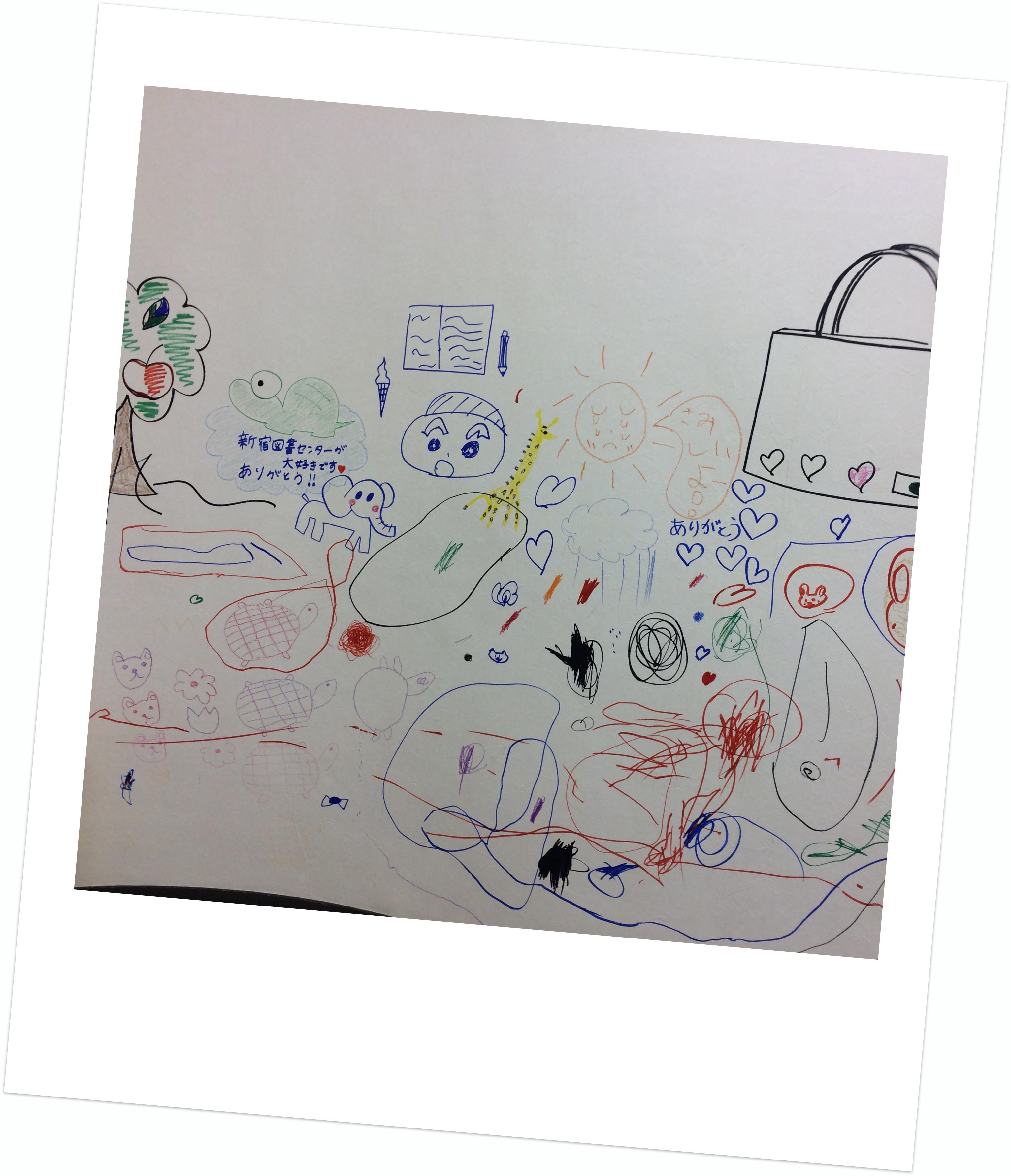 葛飾区立新宿図書センターおはなし室にお絵描き1