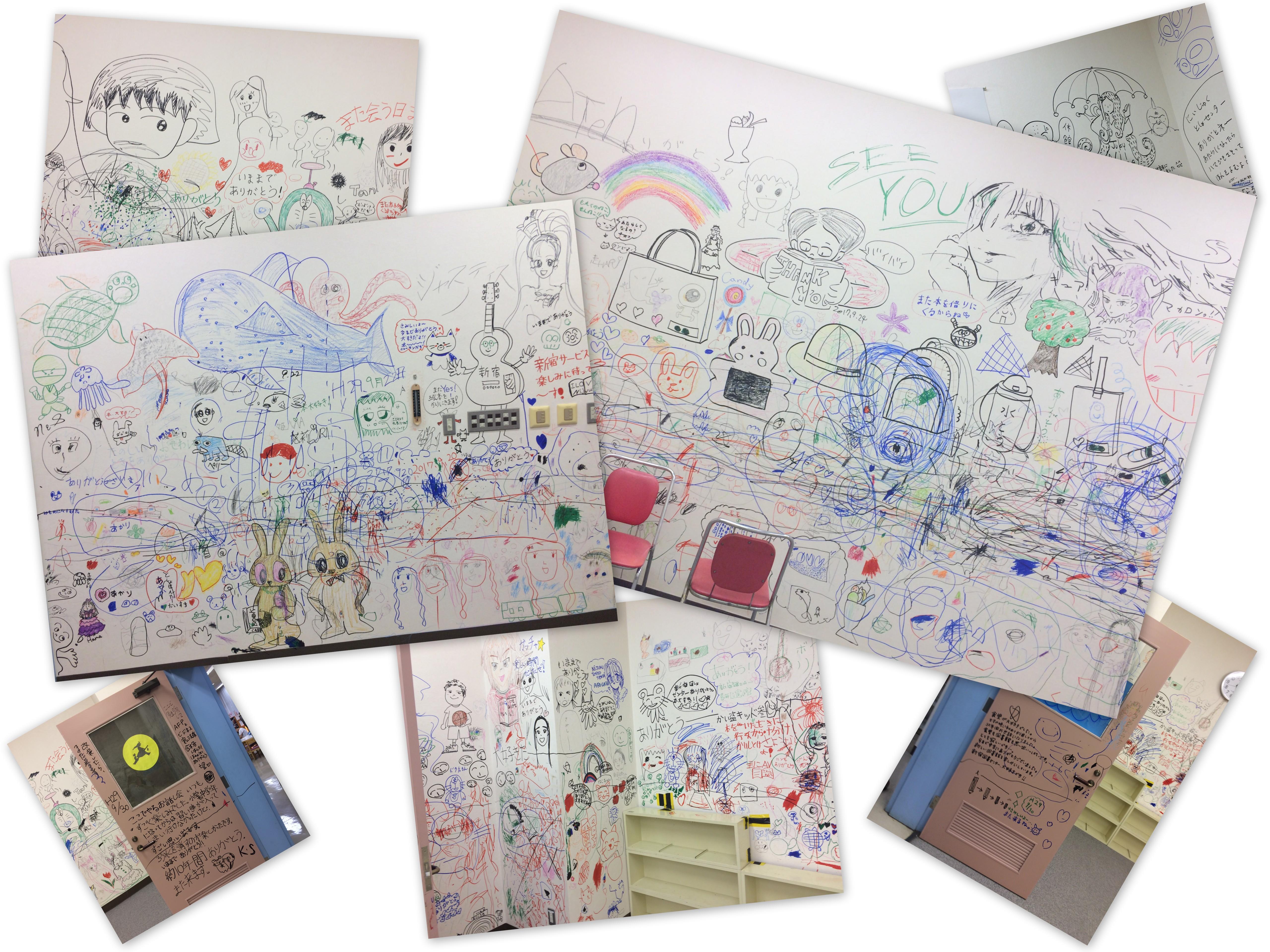 葛飾区立新宿図書センターおはなし室にお絵描き最終日